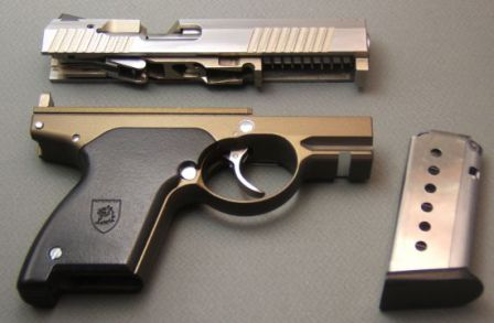 Prototype Boberg XR-9 pistol, partially disassembled