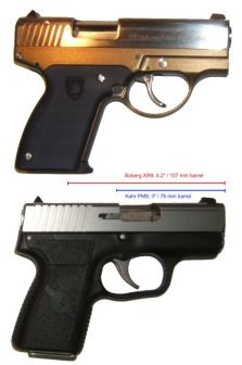 Boberg XR-9 pistol (top) compared to Kahr PM9 pistol (bottom). Both guns are of very similar size and same caliber (9mm), but note the 29% difference in the barrel lenght, obvious by location of the ejection ports