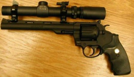 Colt Trooper mk.V with 8in barrel and mounted scope (also known as Colt Whitetailer)