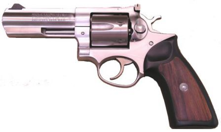 Ruger GP-100 revolver, stainless steel model, caliber .357 Magnum, with full-lug 4 inch barrel