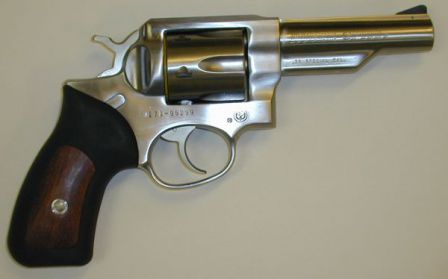 Ruger GP-100 revolver, stainless steel model, caliber .38 Special, with half-lug 4 inch barrel and fixed sights