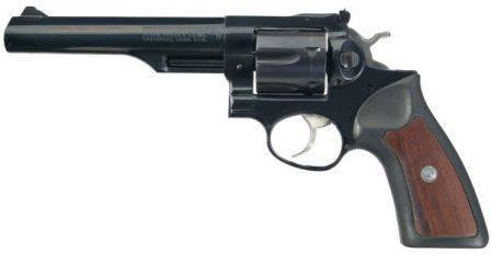 Ruger GP-100 revolver, carbon steel model, caliber .357 Magnum, with half-lug 6 inch barrel