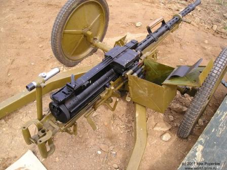 Vladimirov KPV-14.5 heavy machine gun on Kharanin-designed wheeled mount, view on the receiver and controls.