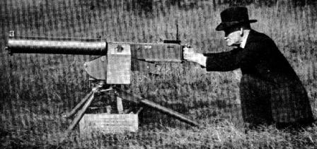John Browning testing his prototype .50 caliber heavy machine gun, circa 1919.