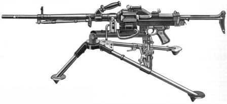 AAT M.1952 machine gun in medium role, on tripod.