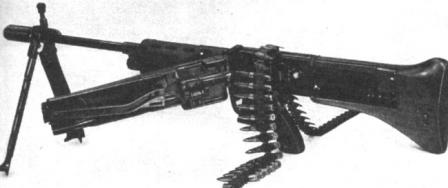 The .30-06 T44 experimental machine gun, which combined design of FG 42 rifle and feed system of MG 42 machine gun. The T44 served as a first step in development of M60 machine gun.
