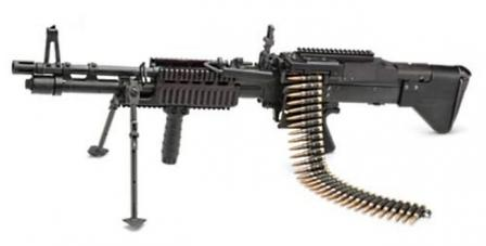 M60E4 / Mk.43 mod.1 machine gun (note Picatinny rails on receiver cover and forend), and removable front grip.