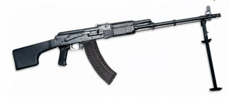 KalashnikovRPK-74 light machine gun, recent production model, with black plasticfurniture and magazine.