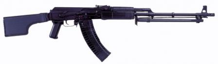 Kalashnikov RPK-74M lightmachine gun, current production model with foldable butt and side railmount for optical or night sights.
