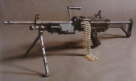 FN Minimi - Belgian-madeversion of basic machine gun. Note the lack of the heat shield above the barrel,and the tubular buttstock.