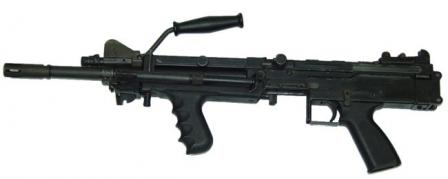 "Ultimax 100 Mk.3 machine gun in ""assault"" configuration, with shortbarrel, folded bipod and no butt. Magazine is not shown."