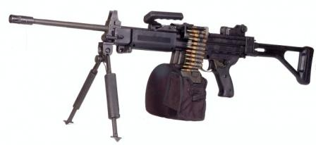 Negev machine gun, in standard configuration and with 200-round belt container clipped to the magazine housing.