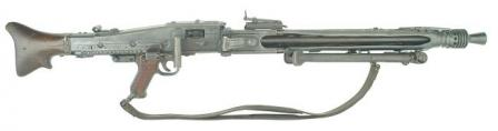 MG 42 machine gun in LMG role, right sideview with bipod folded and carrying sling attached.