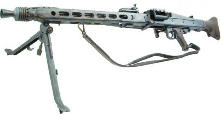 MG 42 machine gun in LMG role, left sideview, with bipod extended.