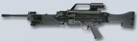 Ручной пулемет HK MG4, серийный вариант с оптическим прицелом и сложенной сошкой.
