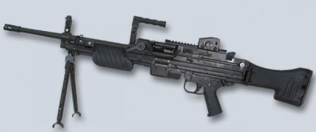 Ручной пулемет HK MG4, серийный вариант с обычным открытым прицелом.