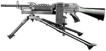 Earlier version of Stoner 63 light machine gun, with left-side feed, mounted on tripod.