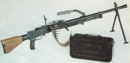 Type 67-2 general purpose machine gun in light machine gun role, on integral bipod.