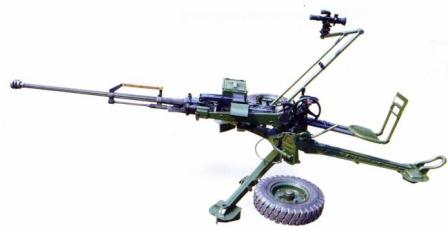 14.5 mm QJG 02G heavymachine gun (export modification) on AA mount, in ready position.