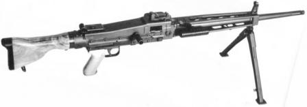 SIG MG 710-3 in light role, early model with wooden buttstock.