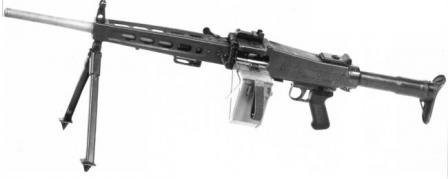 SIG MG 710-3 in light role, with belt box attached, late production model with metallic buttstock.