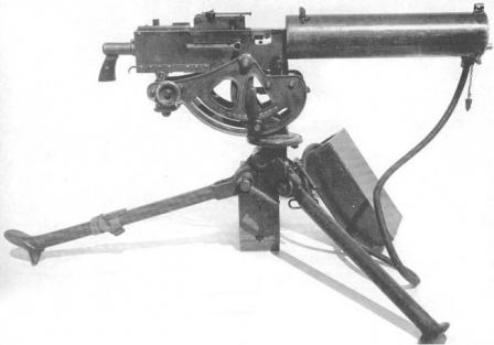 Browning M1917A1machine gun, right side, on M1917 tripod.