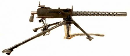 Browning M1919A4 machine gunon M2 tripod, standard MG of US armed forces through the WW2 and Korea,right side.