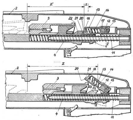 ZB 53 / Vz.37 machine gun, diagram explaining the switch on / switch off bolt buffer which, when switched on, affected the rate of fire by speeding the gun up for additional 200-300 rounds per minute.