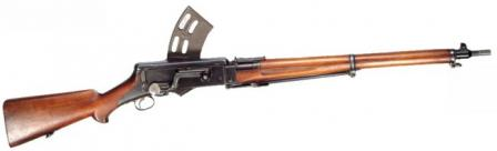 Danish M/1896 self loading rifle designed by Jens Shouboe and used by Danishmarine infantry; this weapon served as a starting point for a whole line of Madsen light machine guns.