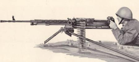 Madsen-Saetter heavy machine gun, caliber 12.7mm (.50 BMG), on light tripod.