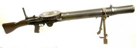 British-made Lewis light machine gun, caliber .303, left side.