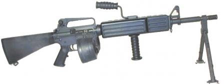 ColtM16A2 automatic rifle / light machine gun with 100-round Beta-C magazine.