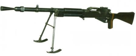 Hotchkiss M1922 light machine gun, strip-fed version (this one was used in Czechoslovakia in caliber 7.92x57 Mauser).