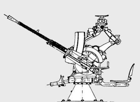 Hotchkiss model 1930 heavy machine guns, magazine-fed, on twin Naval AA mount (diagram).