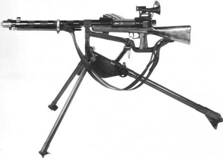 Furrer Lmg-25 light machine gun on special tripod and with telescope sight.