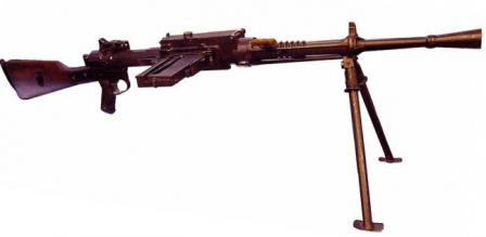 Breda M1930 light machine gun in ready to fire position.