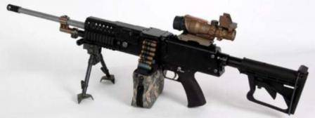 LSAT machine gun, 2009 prototype, with belt and clip-on ammo pouch.