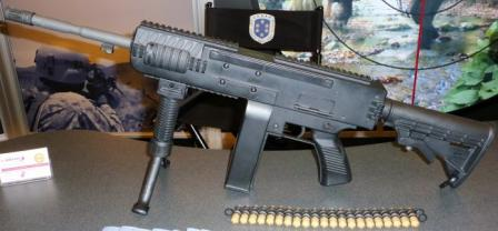 First prototype of the LSAT carbine, as shown at NDIA 2010 symposium.