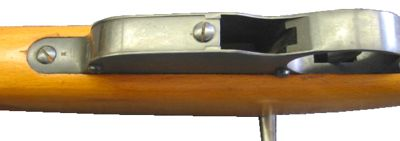 Bottom view on the Steyr Mannlicher M95 rifle, showing the large opening, through which the empty clip is ejected.