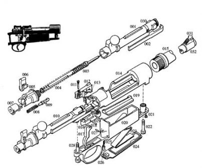 Exploded view of the Mauser 98 action.