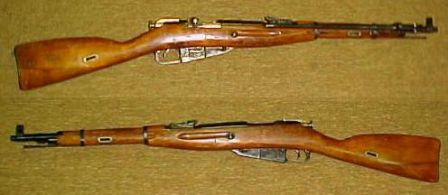 Mosin-Nagant carbine model of 1944. Note that the bayonet is in folded position.