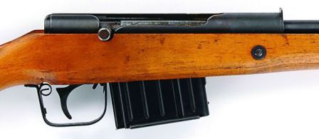 Volkssturmgewehr VG.1 rifle, close up view on the receiver and magazine