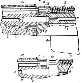Drawing from patent, issued in the USA in 1943 to Erik Eklund; AG-42 rifle gas system is based on this patent.
