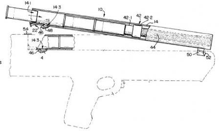 Schematic from 1993 patent, displaying the loading and unloading method ofNeostead shotgun (gun frame is drawn using dotted lines, magazines are tippedup).