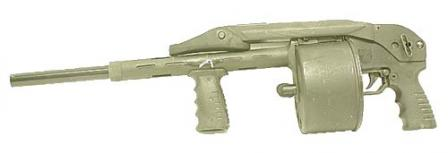"The US made Streetsweeper version of the Striker shotgun, with 18""elongated barrel to comply with US firearms laws."
