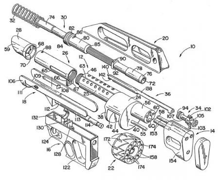 Jackhammer exploded parts diagram from the original patent.