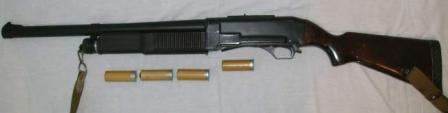 KS-23 riot shotgun / carbine, left side, with 'less-lethal' rubber slugammunition.