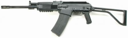 Vepr 12 tactical / practical shotgun, left side, with butt opened.