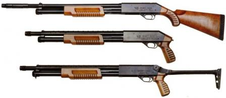 Early production Fort-500 shotguns with different types of stocks.
