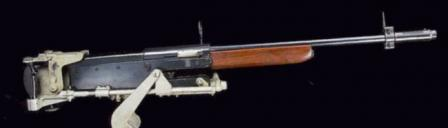 Remingtonmodel 11 shotgun set up into special mount to emulate aircraft machine gun. This setup was used by US Air Force during WW2 to train aircraft machine gunners on shooting at moving targets.